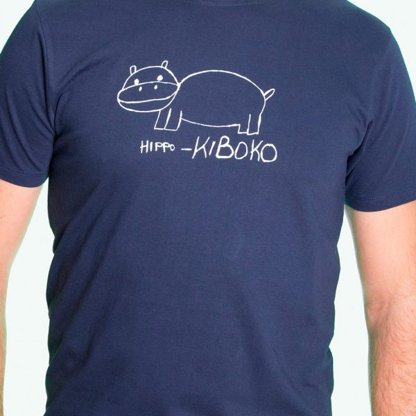 Fair trade Shirt Stuttgart Bio Made in Tanzania Hippo navy 1