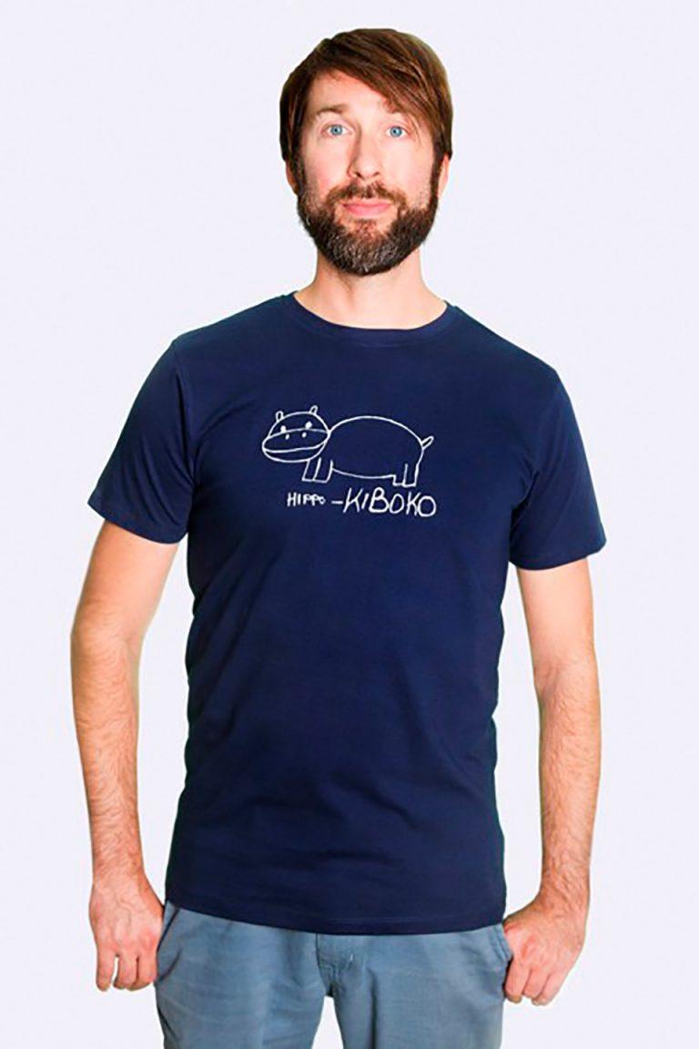 Fair trade Shirt Stuttgart Bio Made in Tanzania Hippo navy 3