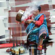Pouring the tea at Kathmandu - Stupa X - DharmaDoo