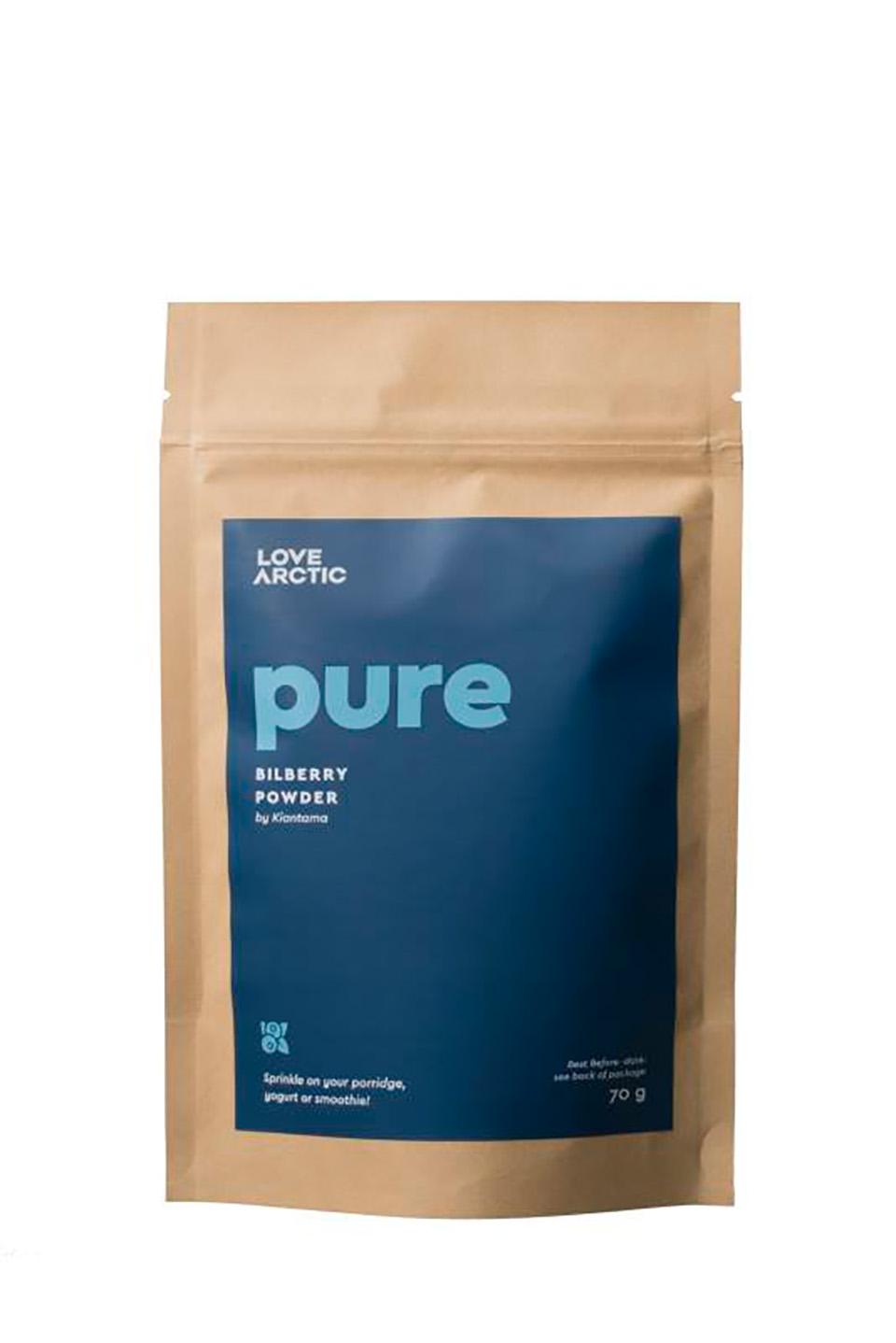 pure - bilberry powder on white- dharmadoo