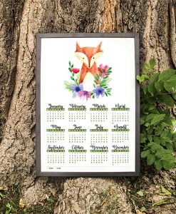 2018 Floral FOX Calendar with MOON PHASES 1