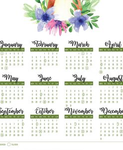 2018 Floral FOX Calendar with MOON PHASES 2